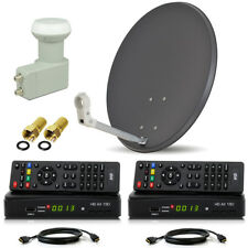 HDTV HD HDMI Opticum SAT Anlage 60cm Schüssel + 2 RECEIVER Twin LNB 2 Teilnehmer