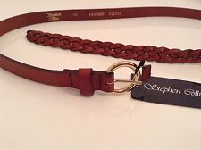 BNWT 100% Auth Stephen Collins, Mens Braided Leather Tan Brown Belt. XL