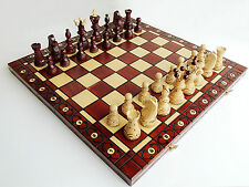 BRAND NEW LARGE HANDCRAFTED SYCAMORE AMBASSADOR WOODEN CHESS SET 54cm