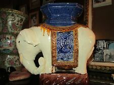 Antique Elephant PlantStandTableTopObjetHollywood Regency HongKong Chinese