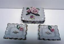 BEAUTIFUL BONE CHINA FLOWER #4501 TRINKET/JEWELRY BOX &2 SMALL PIN DISHES-JAPAN