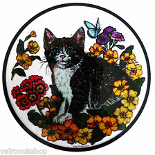 STAINED GLASS WINDOW ART - STATIC CLING  DECORATION - KITTEN AND PRIMROSE