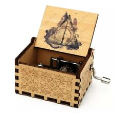 Harry Potter Deathly Hallow Music Box Hand Crank Wood Engraved W/ Bonus Keychain