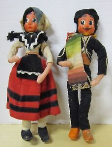 """Vintage 10"""" mask face cloth & wool ethnic Spanish pair"""