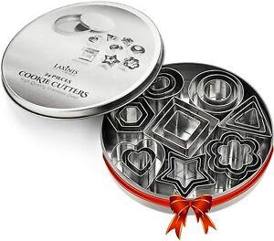 24 Piece Mini Cookie Cutter Set - Heart, Star, Flower, Geometric Shaped Assorted