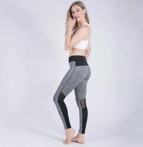 Women's Sport Sexy Exercise Mesh Patchwork High Waist Pushup Gray Black Leggings