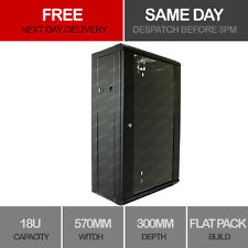 """18U 19"""" Network Cabinet Rack Wall Mounted 570*300mm Black Data Comms Patch Panel"""