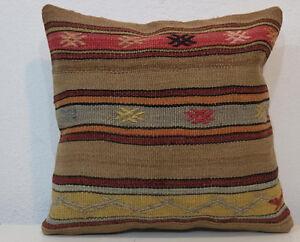 16'' x 16'' Kilim Pillow Cover,Pillow Cover,Brown Pillows,Brown Pillow  Camel