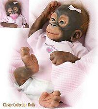 """Ashton drake """"little umi"""" -14"""" silicone orang-outan monkey doll-paci et couches-nouveau"""