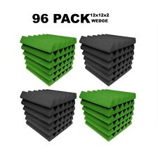 """Acoustic Foam 12x12x2"""" Wedge 96 Pack Green Gray Combo Soundproof recording tile"""