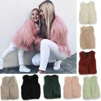 Kids Baby Girls Children Winter Faux-Fur Coat Jacket Thick Warm Outwear Clothes