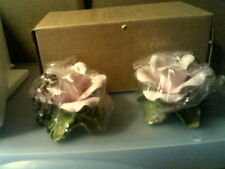 Rhtf Avon 2001 Rose Blossoms Taper Holders (2)-New In Box-Free Shipping