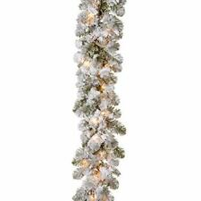 """National Tree9' x 12"""" Feel Real Snowy Camden Garland with 50 Clear Lights Chr..."""