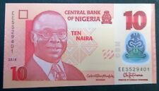 Nigeria 10 naira 2018 misprint wrongly cut First serialnumber from bundle No. 1