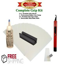 Golf Club GRIP KIT 15 Tape Strips (2x10), Solvent, Vise Clamp and Hook Blade