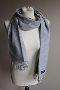 Rah Rah Collection 100% Lambswool Gray Scarf Fringe Scotland 10x70
