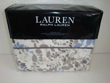 Ralph Lauren Devon King Sheet Set Nip Cotton Cream Blue Browns Charcoal Foliage