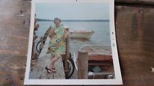 Vintage Black and White Photo 3.5 x 3.5 inches 1968 Women Smoking Boat Dock Lake