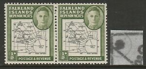 F.I.Deps 1946 ½d Black & green with Extra island SG G1aa Mnh.