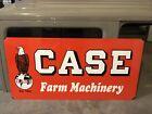 OLD HEAVY!!!  ENAMEL 40 X 20 INCH CASE FARM MACHINERY TRACTOR SIGN