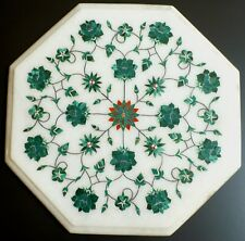 Octagon Hand Made Green Flower Floral Semi-Precious Inlay Stones Marble Tabletop