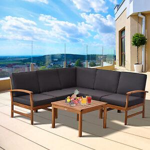 6 Piece Acacia Wood Sofa Set Outdoor Furniture Cushions Teak