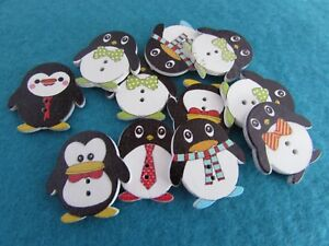 25x24mm Wooden Penguin Buttons Embellishments Asst Designs in Pks of 5, 10 or 20