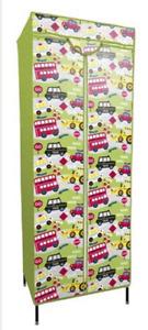KIDS STORAGE WARDROBE ROADWORKS DESIGN SOFT ZIPPED FABRIC COVER 90x45x155cm