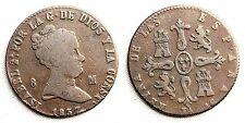 ESPAÑA-Isabel II. 8 Maravedis. 1837. Jubia.  MBC-/VF-. Cobre 10,2 g. Escasa