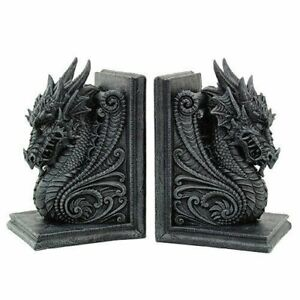 Gothic Dragon Bookends Medieval Book Ends Evil Medieval 8266
