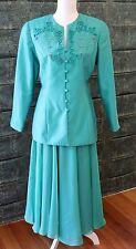 Glamorous Vintage Anthea Crawford Skirt Suit - Green 1980s/90s - Size 10 - GVC