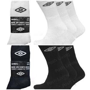 6 Pack Mens Umbro Comfort Sports Knitted Logo Crew Socks Black Size UK 6-11