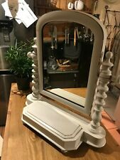 More details for small wooden painted dressing table mirror with storage compartment