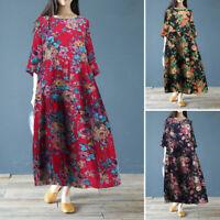 ZANZEA Women's 3/4 Sleeve Shirt Dress Floral Print Kaftan Long Maxi Dress Plus