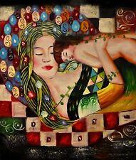 """R.Bash-""""Maternal Love""""-(After Gustav Klimt)-Orig.Oil Canvas Signed by the Artist"""