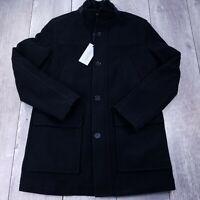 Cole Haan Signature Wool Plush Car Coat Mens Medium Black Attached Bib