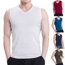 Mens Singlet Tank Tops Casual V-Neck 100% Cotton Undershirt Sports Training Vest