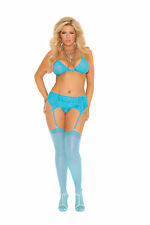 Elegant Moments 1725q Plus Size Sheer Thigh High Stockings Turquoise