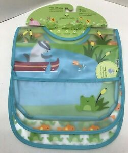 Green Sprouts Wipe-Off Bibs Waterproof Protection 3 Pack 9-18 Months -NEW