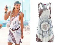 VENICE BEACH-Tolles Strand-Kleid-Lässig-Style im Batik-Look-braun/creme-Gr.34-44