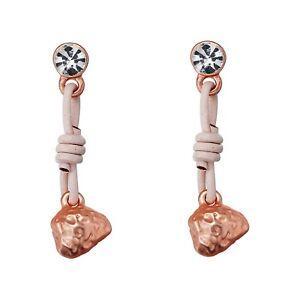 Earrings Matt Silver & Rose Gold Dangle Drop Fashion Earrings Real Leather UK