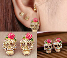 Colorful Skeleton Skull Women Cute Pink Rose Rhinestone Ear Studs Earrings