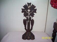 Vintage Antique Black Forest Hand Carved Altar Tabletop Crucifix
