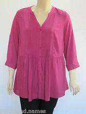 Autograph Ladies 3/4 Sleeve Pleat Front Shirt Sizes 14 18 Colour Orange 16