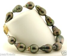 "9X14MM - 10X15MM Gray Tahitian Cultured Pearl Bracelet, 14K Yellow Clasp, 8"" NEW"