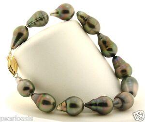 """9X14MM - 10X15MM Gray Tahitian Cultured Pearl Bracelet, 14K Yellow Clasp, 8"""" NEW"""