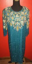 Vtg 80s Teal Turquoise Gold Sequin Beaded Paisley Glam Midi Boho Dress M