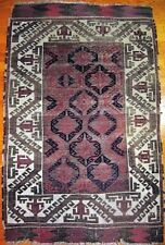 "Antique 19th c. Baluch Balouch tribal rug with ivory border, 2'10""x4'6"" Oriental"