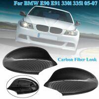 Pair Carbon Fiber Car Side Rearview Mirror Cover Cap For BMW E90 E91 2005-2008