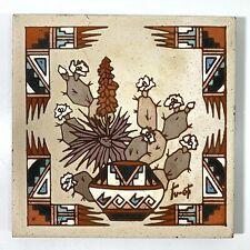 Earthtones Southwestern Ceramic Tile Art Signed Tu-Oti Home Decor or Trivet